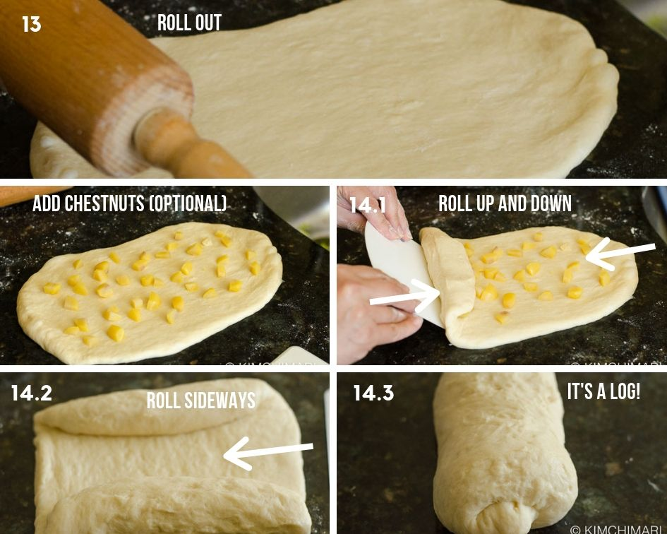 showing rolled out milk bread dough and then rolled into a log