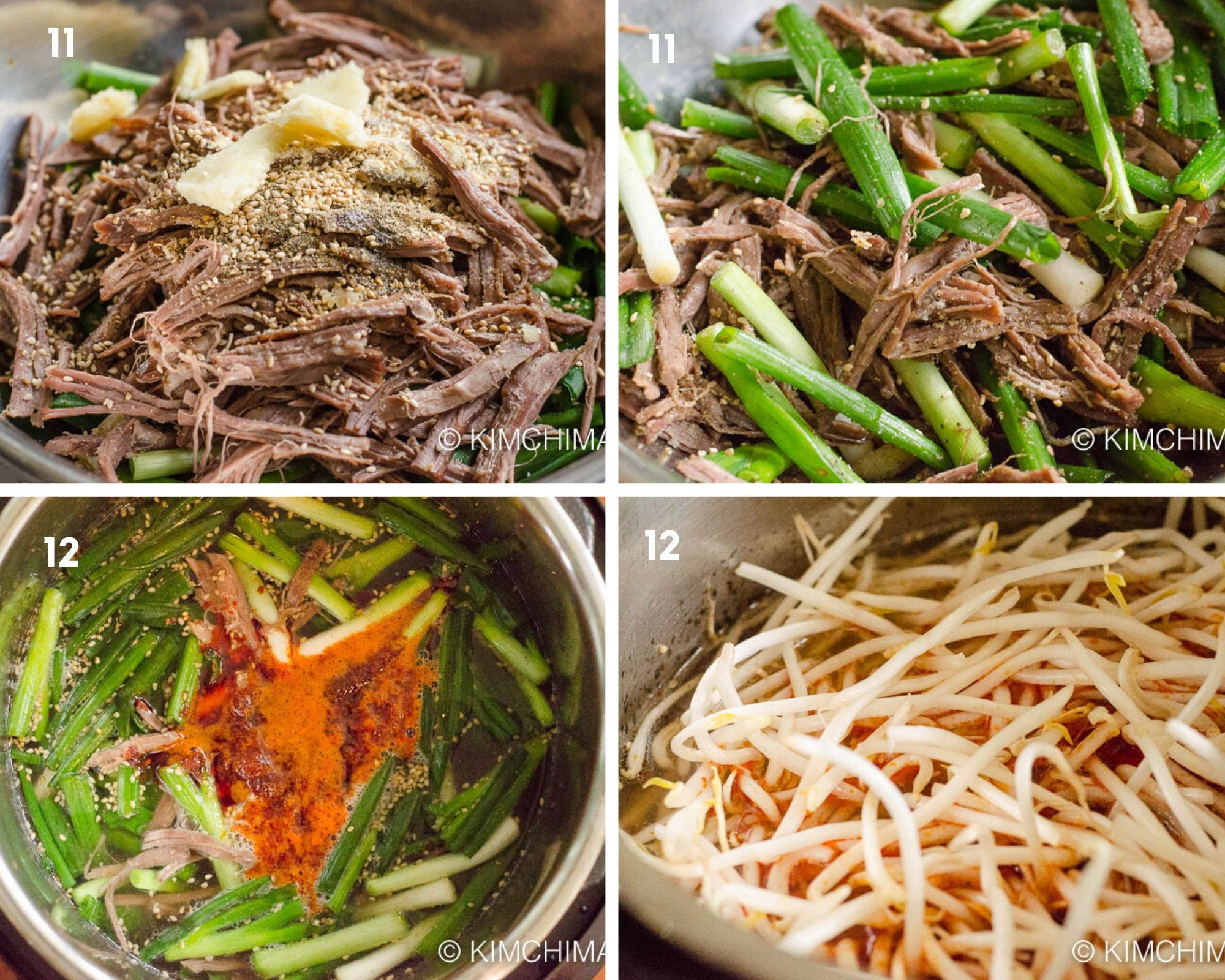 seasoned meat, green onions, bean sprouts, chili oil added to instant pot for cooking