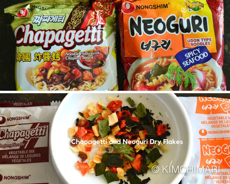 chapagetti and neoguri noodle packets and dry flakes