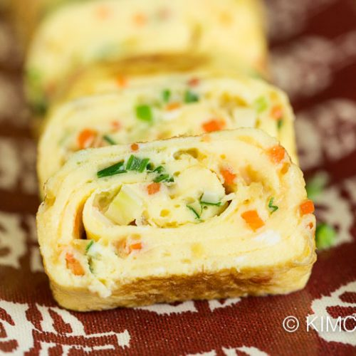 close up of Korean Egg Roll sliced and plated