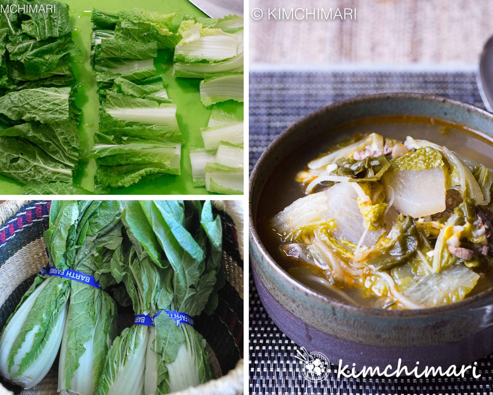 Whole Seoul Green Cabbage and bowl of soup made with cabbage