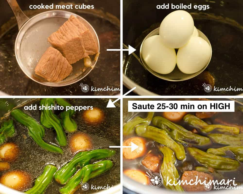 4 step by step pics of adding meat, eggs, peppers into instant pot