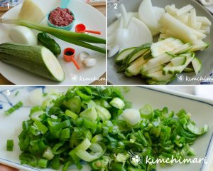 vegetable ingredients, cut and chopped for noodle soup