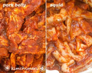 side by side pic of pork belly and squid slices marinated in osam bulgogi sauce