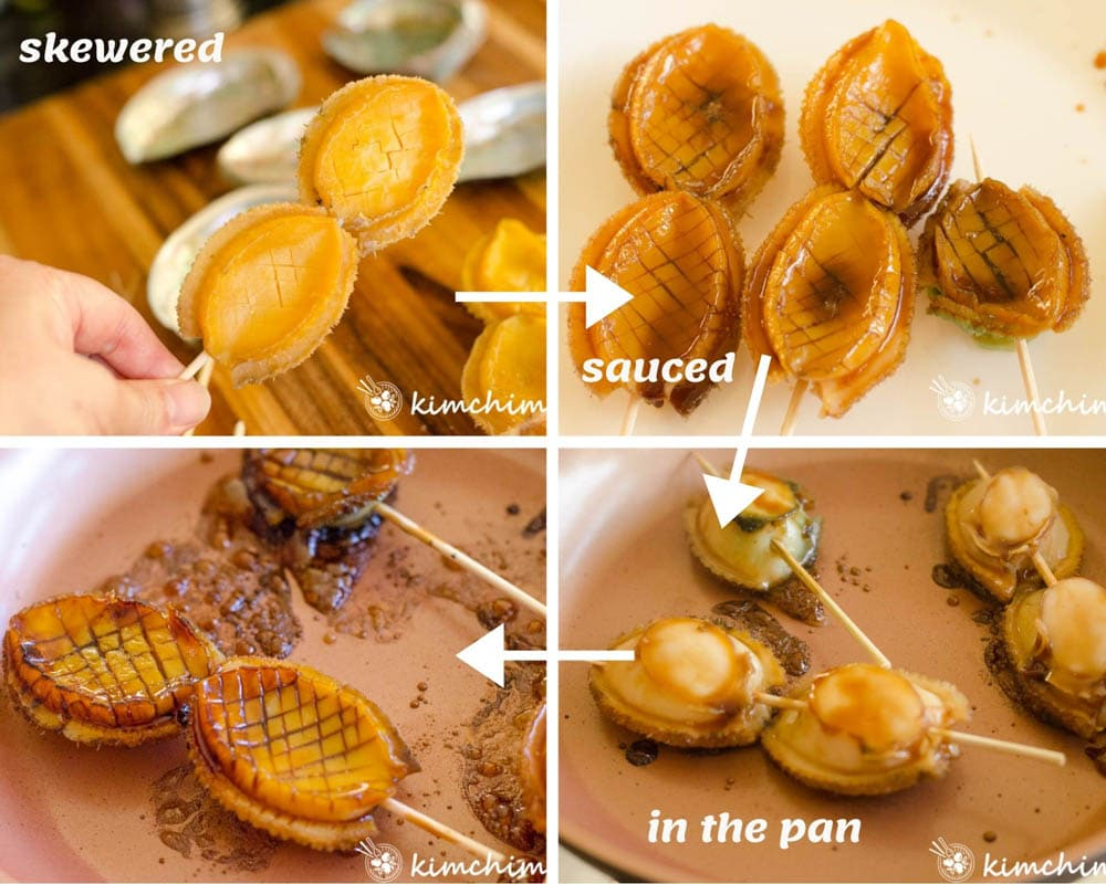steps for skewering, coating with sauce and pan frying abalones