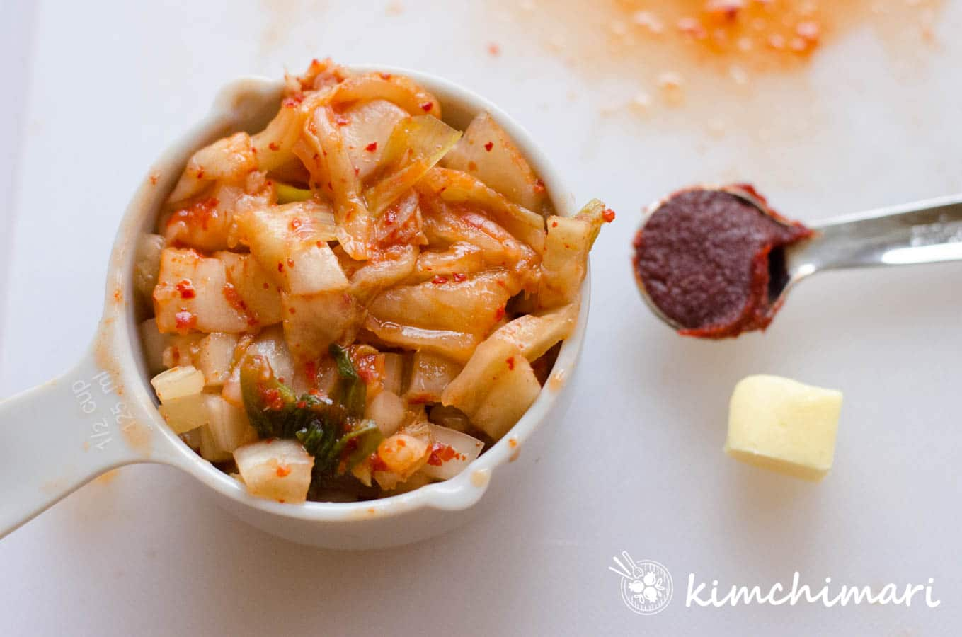 chopped kimchi, gochujang and butter measured in cup and spoons
