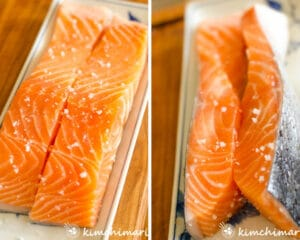 cut serving size salmon fillet salted on top and sides