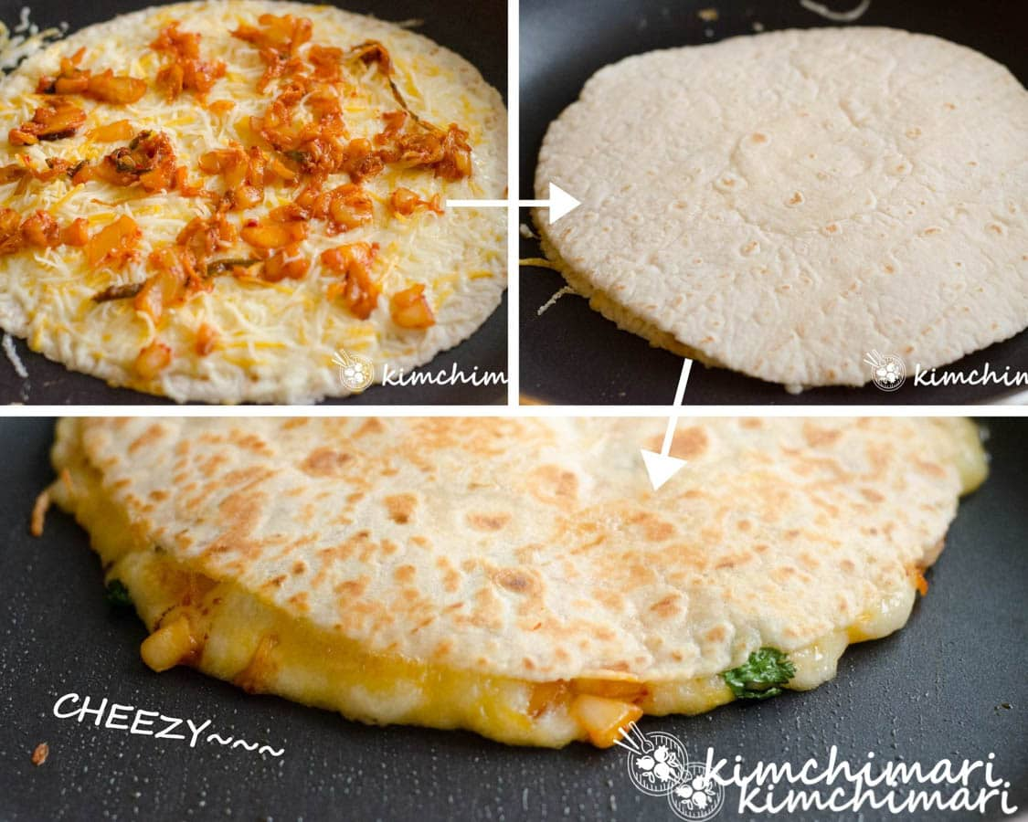 3 step by step pics of assembling and cooking quesadilla in pan