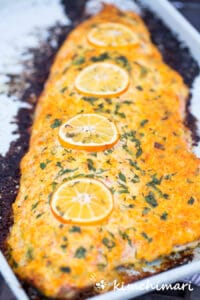 whole side of salmon baked with mayo sauce on sheet pan