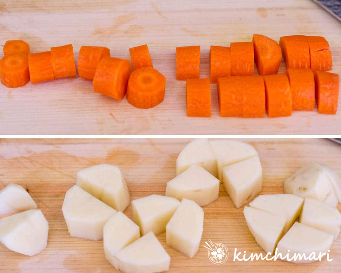 2 pics of carrots and potatoes cut into 3/4 inch cubes - roughly