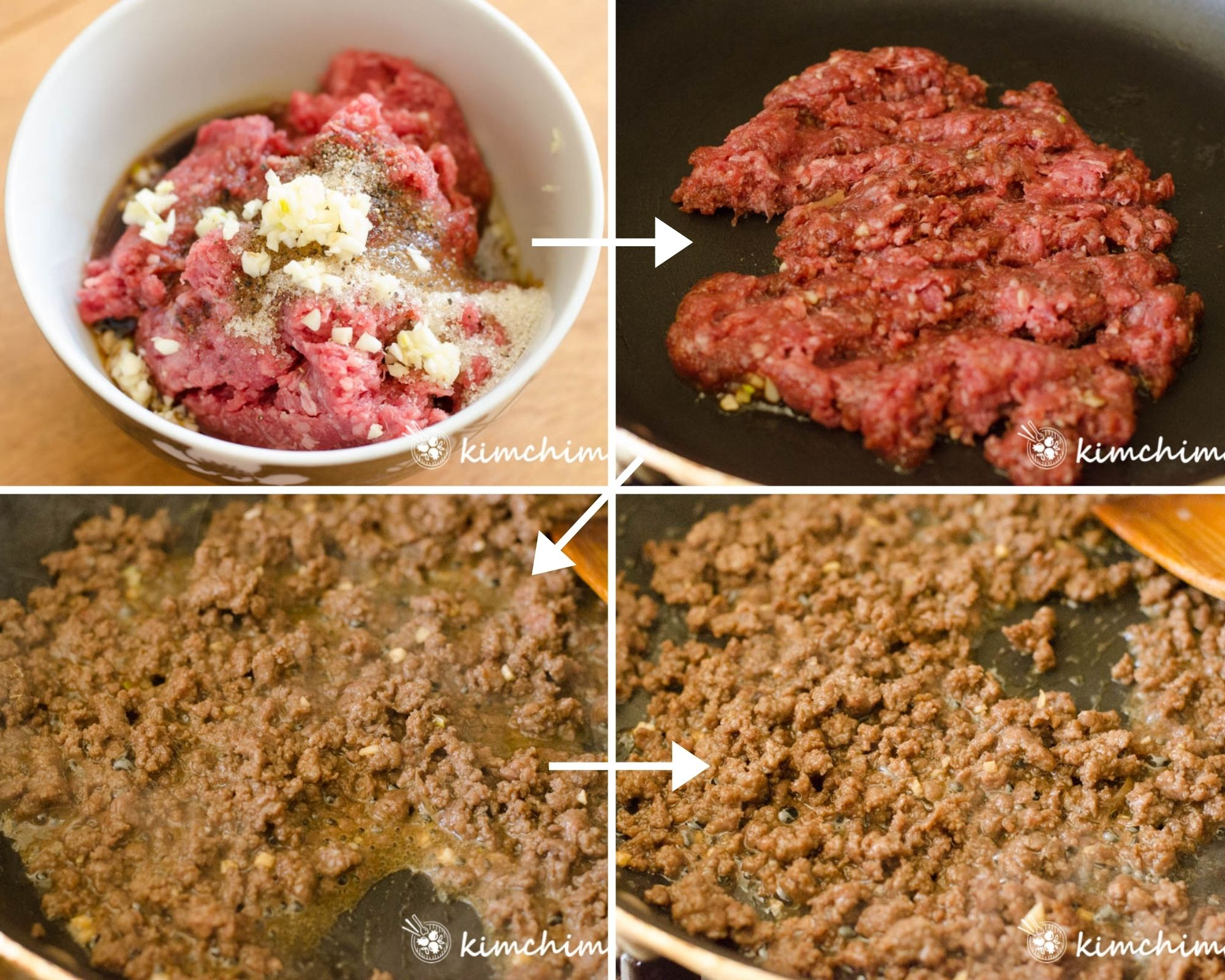 step-by-step photo of seasoning and pan-frying ground beef