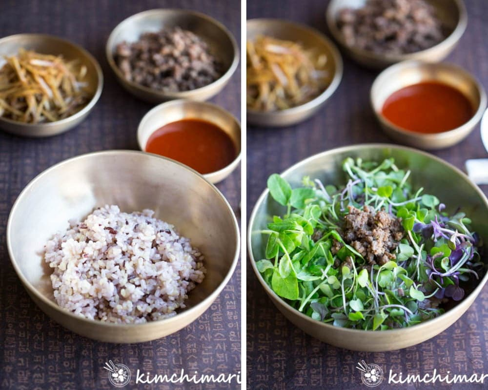 side by side pics of rice in bowl then topped with microgreens and beef