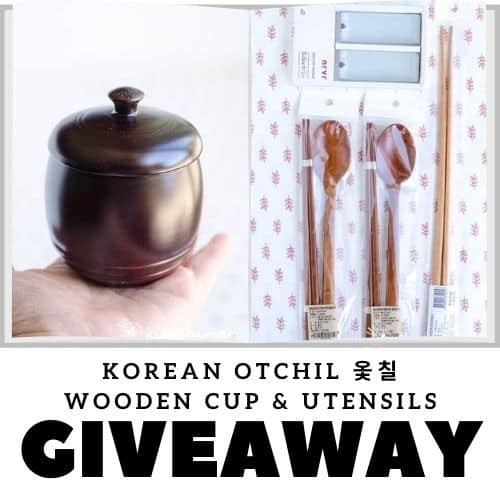 korean wooden utensils and cup pics and banner for giveaway