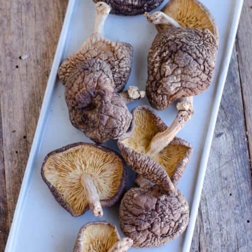 top view of dried shiitake mushrooms spread out on plate